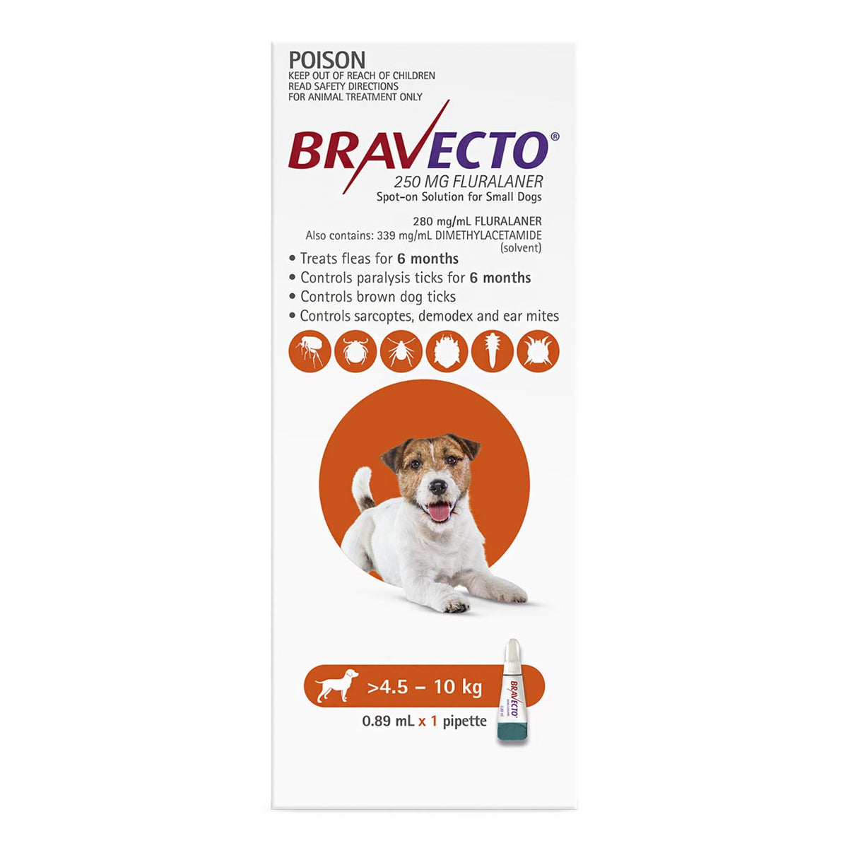 Bravecto Spot-on for Dogs 4.5kg-10kg (Orange) - 6 Month Flea and Tick Protection
