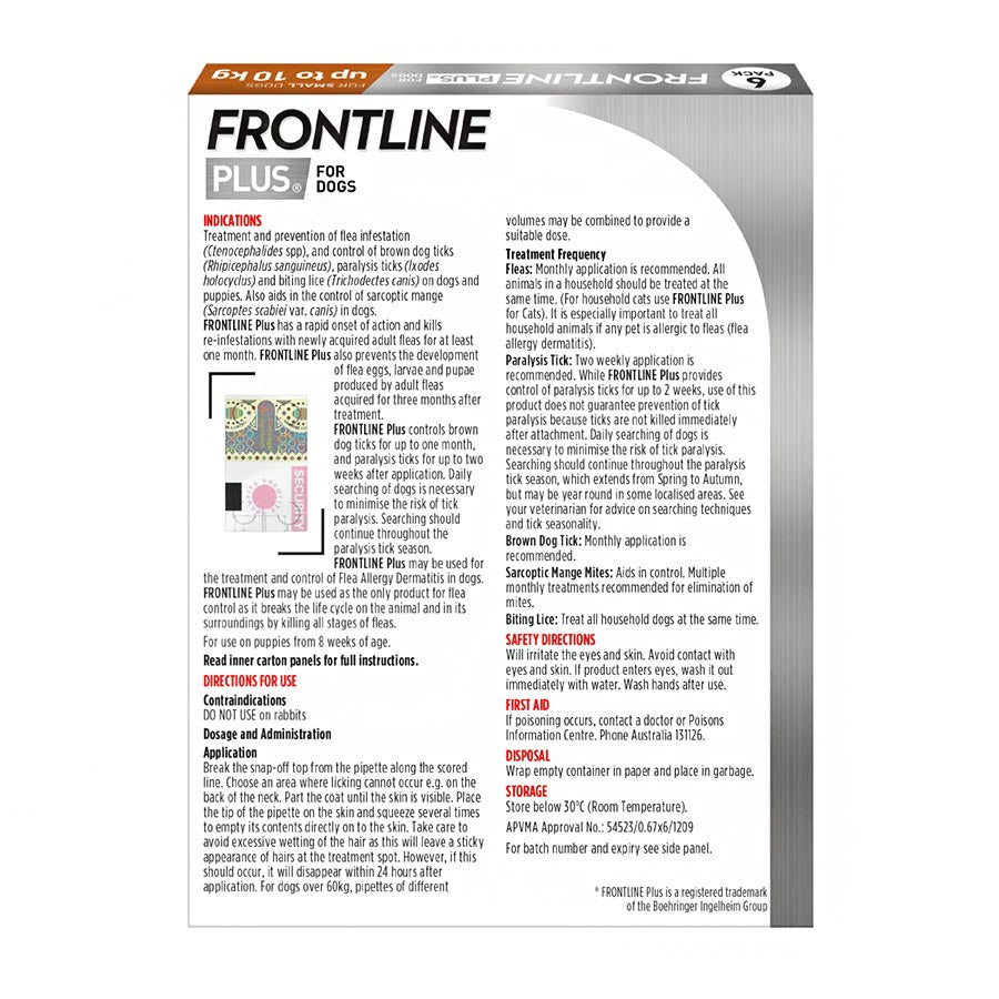 Frontline Plus for Small Dogs Up to 10kg (22lb)