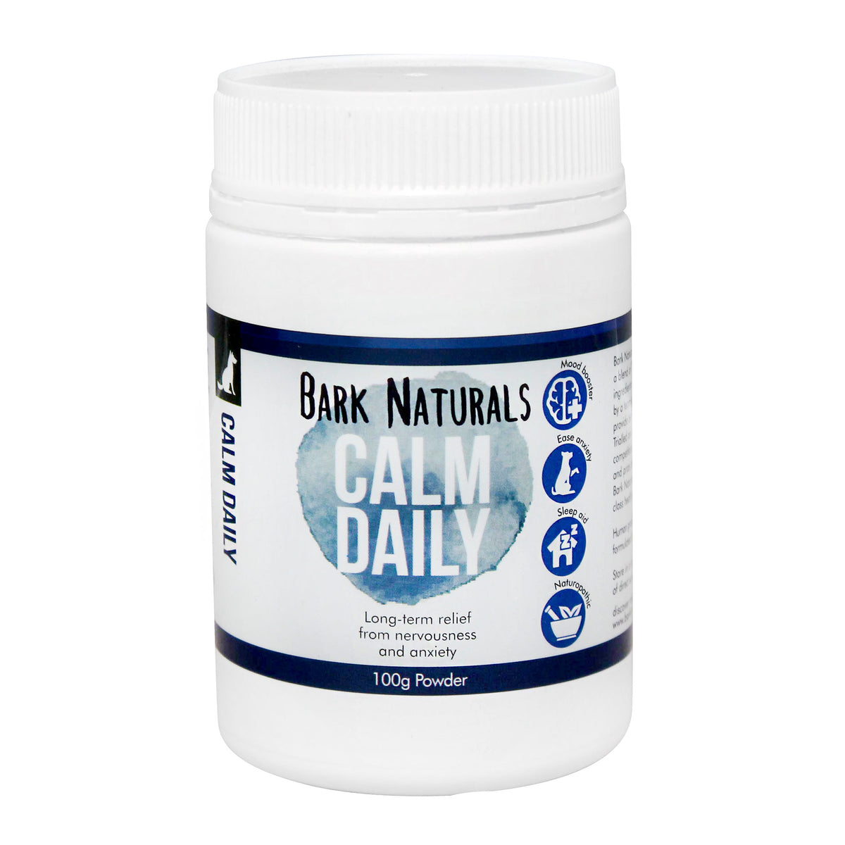 Bark Naturals Calm Daily for long term relief from nervousness and anxiety in dogs.