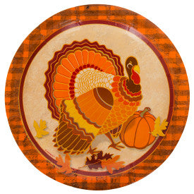 """Turkey Time"" Round 7"" Thanksgiving Dessert Plates, 8ct"