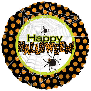 "18"" Halloween Spiders & Dots Foil Balloon"