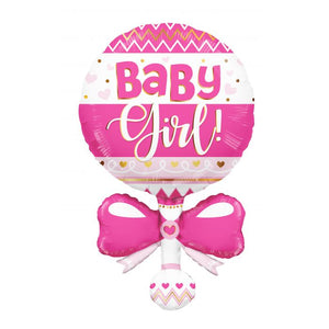 "36"" ""Baby Girl"" Pink Rattle Foil Balloon"