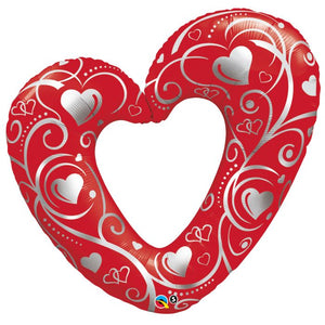 "42"" Red Hearts & Filigree Foil Balloon"