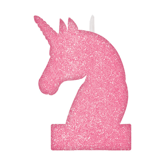Pink Magical Unicorn Glitter Candle 8cm x 13cm .;..;.