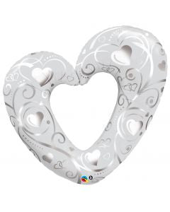 "42"" Pearl White Hearts & Filigree Foil Balloon"