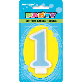 1st Birthday Number Candle - Blue