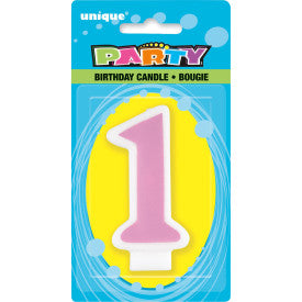 1st Birthday Number Candle - Pink