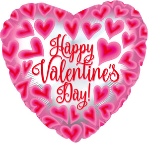 "18"" Happy Valentine's Day Pink/Red Hearts Foil Balloon"