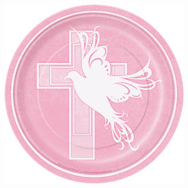 "7"" Dove Cross Pink Round Dessert Plates, 8ct."