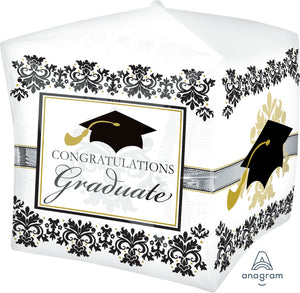 "15"" Black & White Graduation Elegance Cubez Foil Balloon"