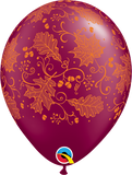 "Halloween 11"" Burgundy Fall Leaves Latex Balloon"