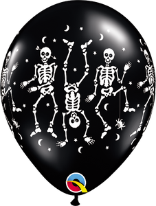 "Spooky Onyx Black with Dancing Skeletons Halloween 11"" Latex Balloon"