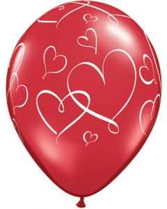 "11"" Romantic Hearts Ruby Red w White Ink Balloon"