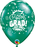 "11"" Green Congrats Grad Latex Balloon Jewel..."