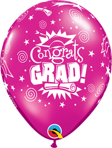 "11"" Pink Congrats Grad Latex Balloon Jewel..."