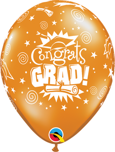 "11"" Orange Congrats Grad Latex Balloon Jewel..."