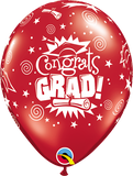"11"" Red Congrats Grad Latex Balloon Jewel..."