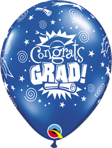 "11"" Royal Blue Congrats Grad Latex Balloon Jewel..."