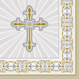 Radiant Cross Silver & Gold Beverage Napkins