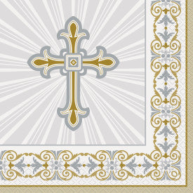 Radiant Cross Silver & Gold Religious Luncheon Napkins