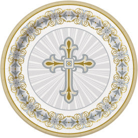 "9"" Radiant Cross Silver & Gold Round Dinner Plates, 8ct."