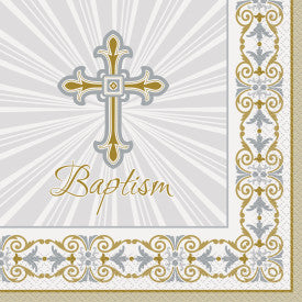 Radiant Cross Silver & Gold Baptism Luncheon Napkins