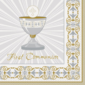 "Gold & Silver Radiant Cross ""First Communion"" Luncheon Napkins"