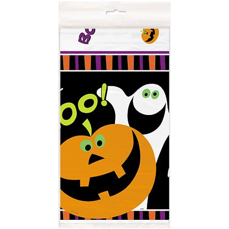 Halloween Pumpkin Boo Plastic Table Cover, 54