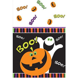 "Halloween Pumpkin Boo Plastic Table Cover, 54"" x 84"""