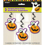 Halloween Pumpkin Boo Hanging Swirl Decoration, 3ct.