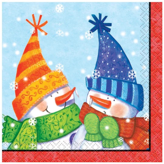 Snowman Buddies Beverage Napkin 16ct