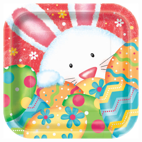 Happy Easter Bunny Square Dessert Plates, 10ct.