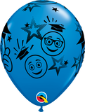 "11"" Blue Graduation Smileys Latex Balloon..."