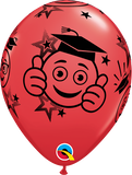 "11"" Red Graduation Smileys Latex Balloon..."