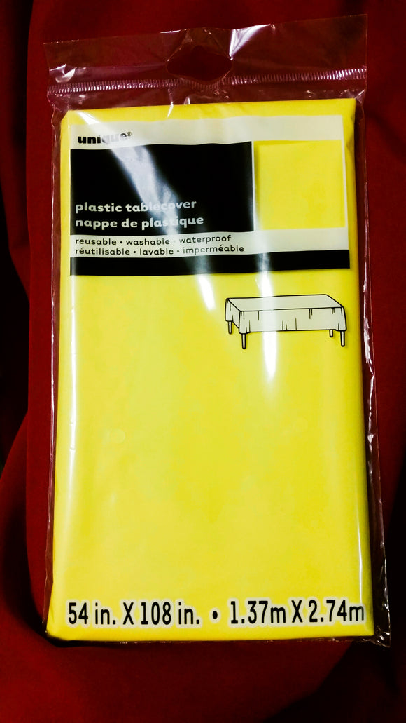 Yellow Rectangular Plastic Table Cover, 54
