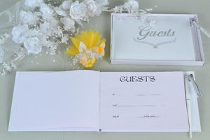 Silver Wedding Guest Book w/ Pen, 1pc