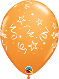 "11"" Orange Congratulations Streamers Latex Balloon..."