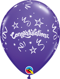 "11"" Purple Congratulations Streamers Latex Balloon..."