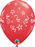 "11"" Red Congratulations Streamers Latex Balloon..."