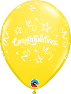"11"" Yellow Congratulations Streamers Latex Balloon..."
