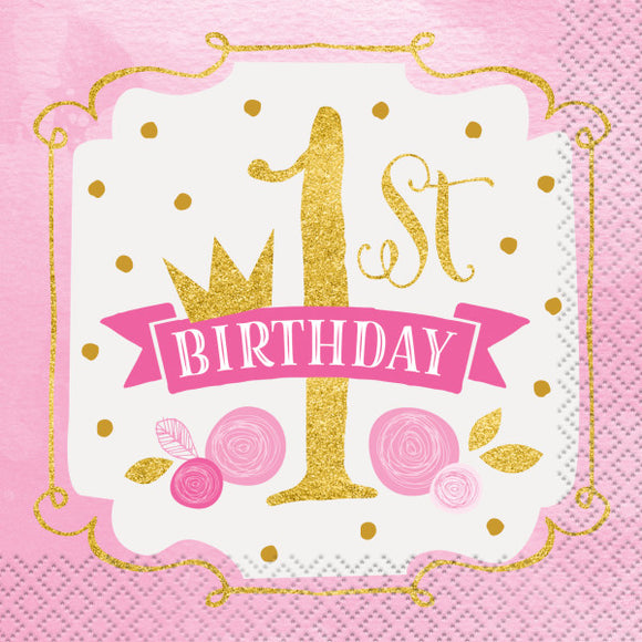 Pink & Gold First Birthday Beverage Napkins, 16ct