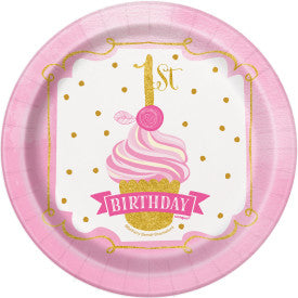 "Pink & Gold First Birthday Round 7"" Dessert Plates, 8ct"