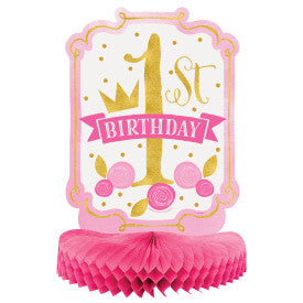 Pink & Gold First Birthday Honeycomb Centerpiece, 14