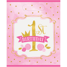 Pink & Gold First Birthday Loot Bags, 8ct