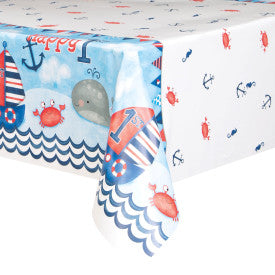Little Sailor Nautical First Birthday Whale Rectangular Plastic Table Cover, 54