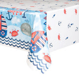 "Little Sailor Nautical First Birthday Whale Rectangular Plastic Table Cover, 54"" x 84"""