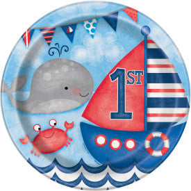 "Little Sailor Nautical First Birthday Round 9"" Dinner Plates, 8ct"