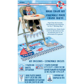 Little Sailor Nautical First Birthday High Chair Decorating Kit