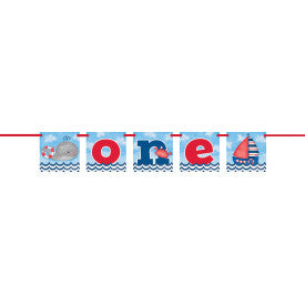 Little Sailor Nautical First Birthday Block Banner