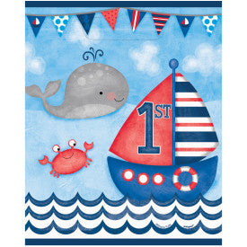 Little Sailor Nautical First Birthday Whale Loot Bags, 8ct